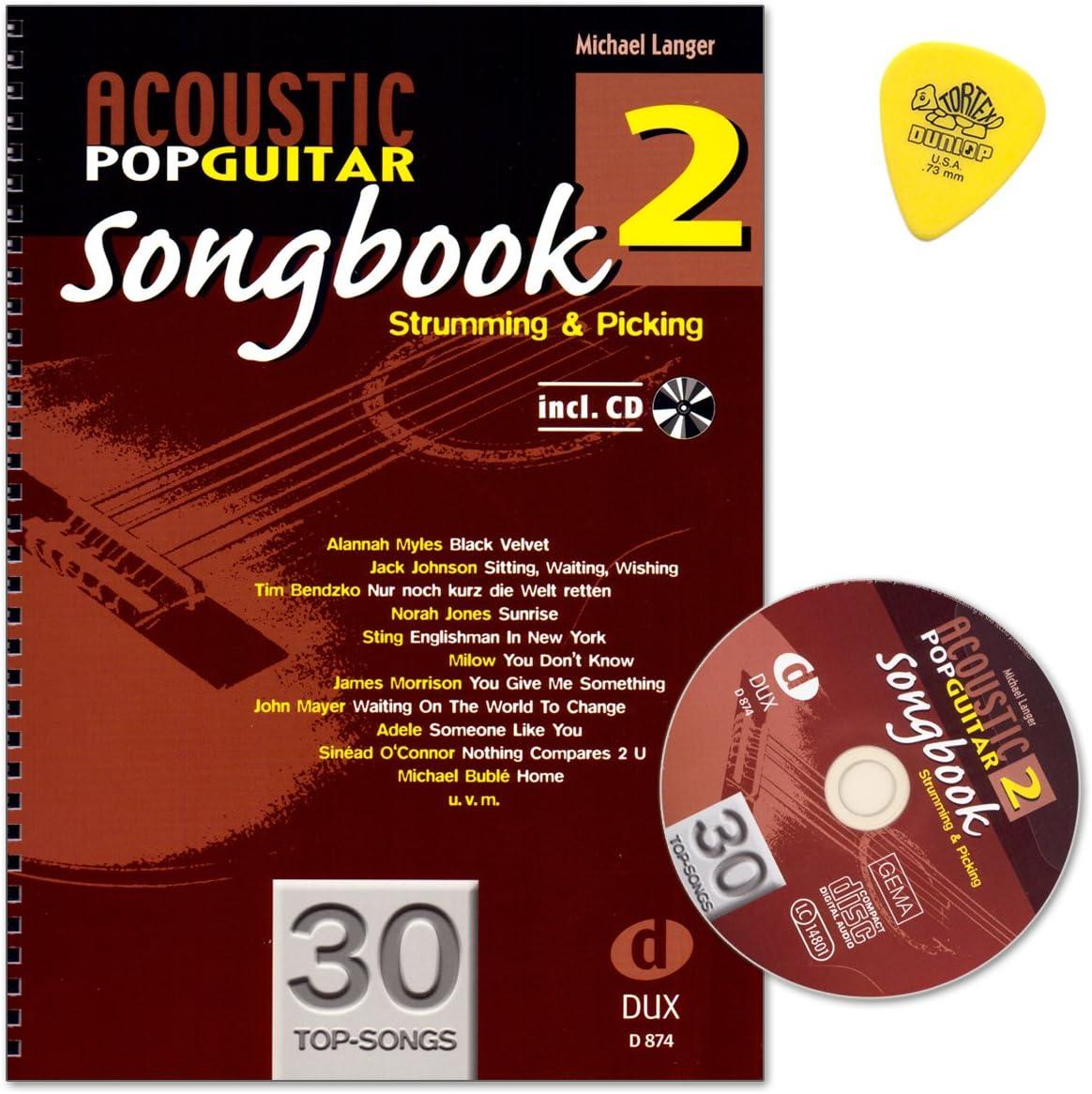 Acoustic Pop Guitar–SONGBOOK 2de Michael Langer–gratter and Picking–Guitare et notes de musique avec CD et dulop plek