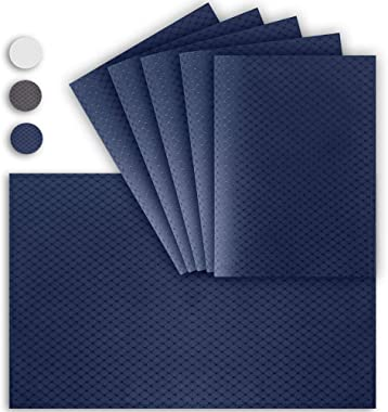 VCVCOO Anti-Stain Double Sided Placemats for Dining Table,13 by 19 inches Cloth Placemats Set of 6 Pieces, Navy Blue Waffle W