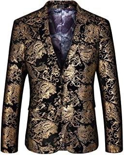 Howely Mens Premium Stage Clothes Jackets One Button Notched Lapel Blazer