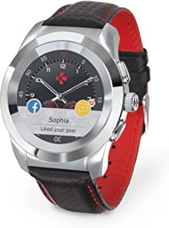 MyKronoz ZeTime Regular Premium Hybrid Smartwatch 44mm with Mechanical Hands Over a Color Touch Screen – Polished Silver/Black Carbon Red Stitching