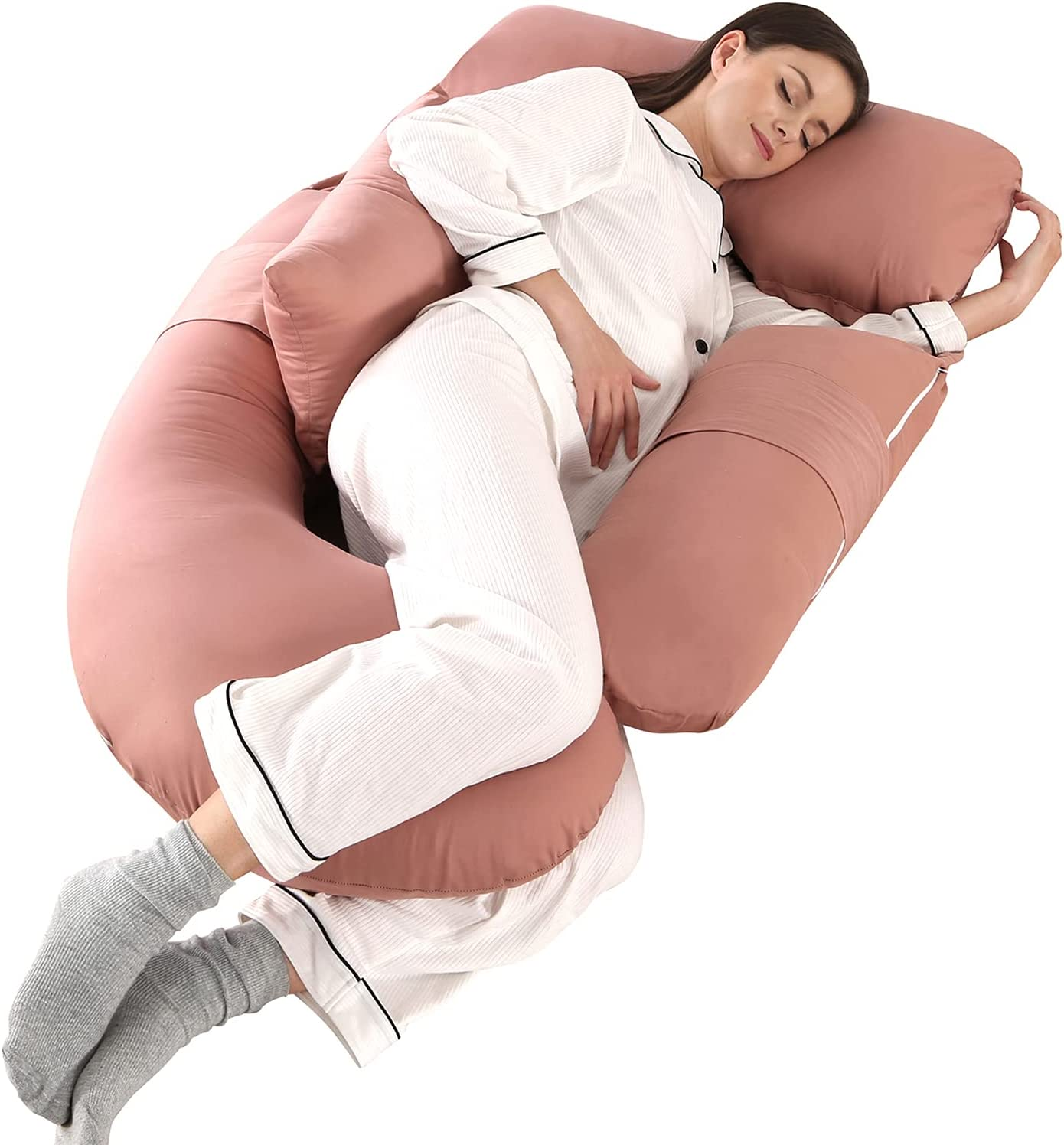 Pregnancy Pillows for Sleeping Detachable U Shaped Full Body Pillow HINAPRAM Maternity Pillows for Sleeping 55 inches Pregnancy Body Pillow with Cotton Cover(Pink)