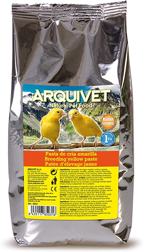 Arquivet Pasta de cría Amarilla y Mantenimiento para pájaros - Sabor Neutro - Alimentación para Aves - Comida para Todo Tipo de pájaros y ...