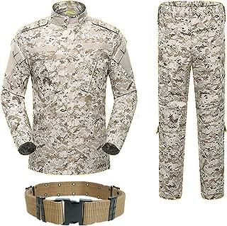 Men Tactical BDU Combat Uniform Jacket Shirt & Pants Suit for Army Military Airsoft Paintball Hunting Shooting War Game Desert Digital (AOR1