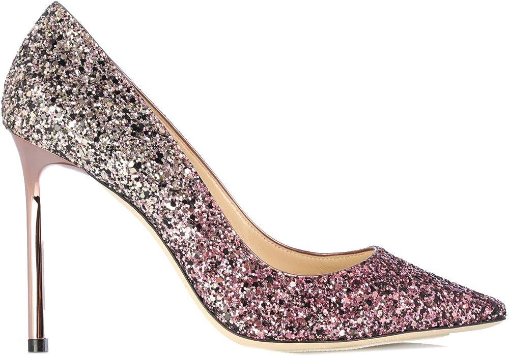 Jimmy choo luxury fashion,scarpe, decolleté per donna,in glitter ruvido sfavillante con interno in pelle ROMY100PYGCANDY
