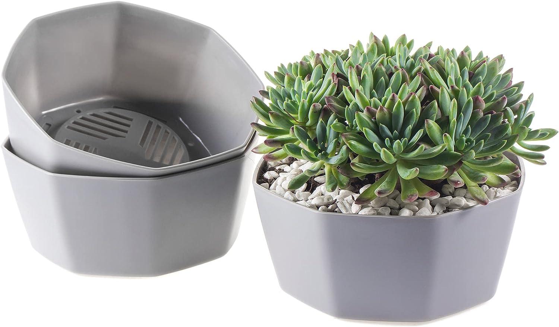 3 Max 57% OFF Pack Grey Flower Pots Outdoor Branded goods Plant Co Planters Indoor Garden