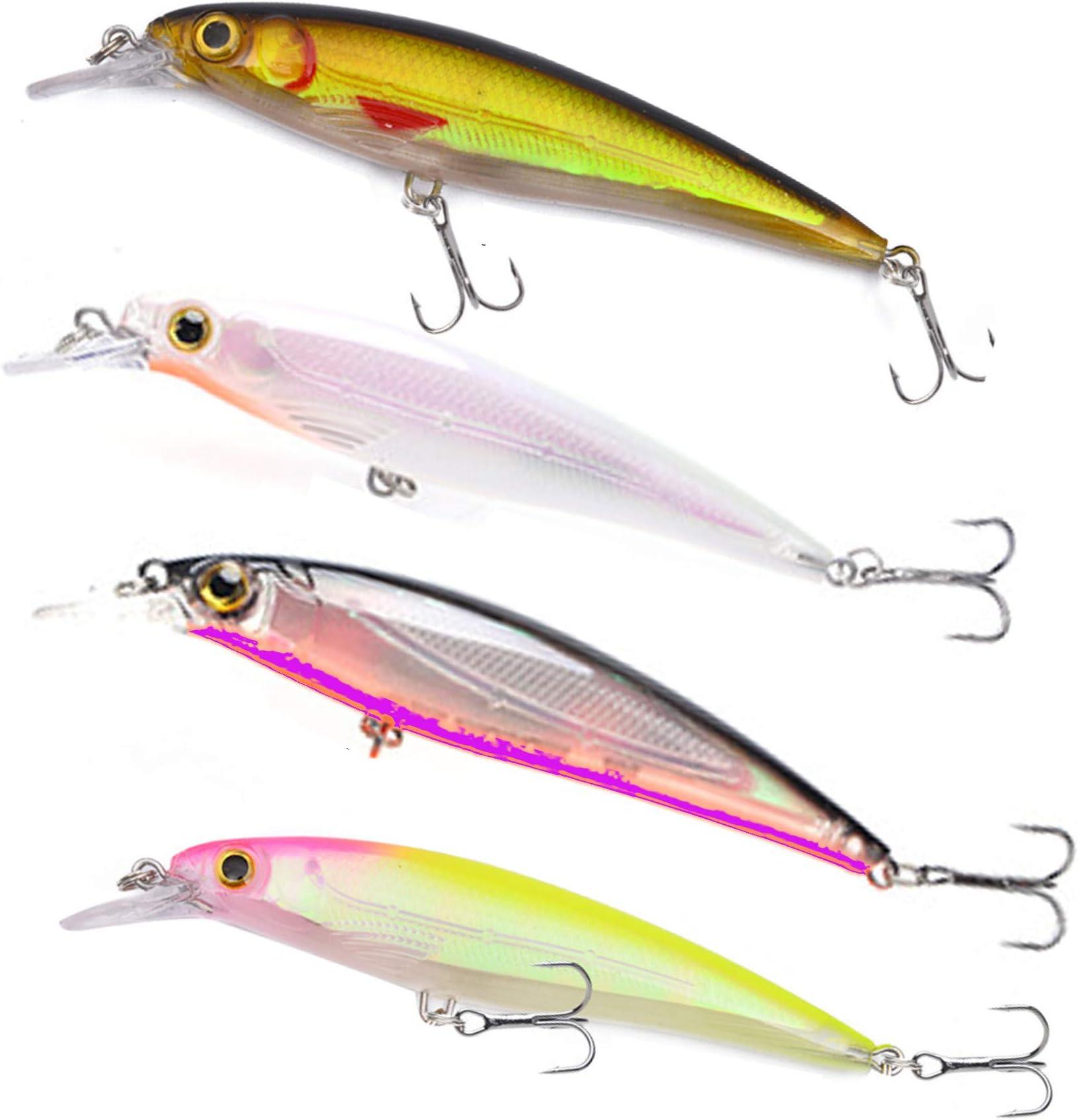 10PCS Fishing Bass Fish Floating Minnow Crankbaits lure hook baits 10cm//8.4g
