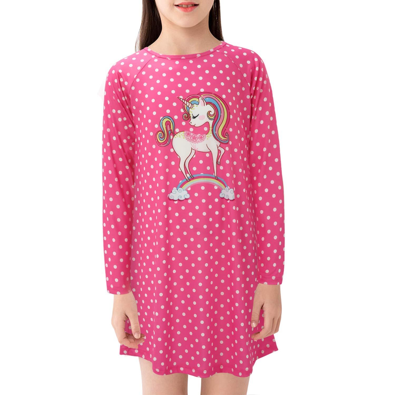 Image of Cozy Long Sleeve Polka Dot Unicorn Nightgown for Girls