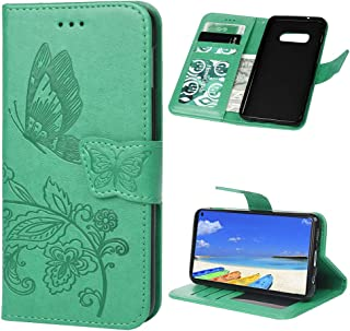 Galaxy S10e Embossed Wallet Case, KASOS Slim Shockproof Leather Flip Case Protective Cover, Card Slots Phone Folio Case for Samsung Galaxy S10 Lite/S10e - Mint Green