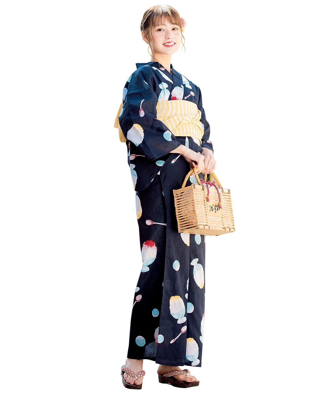 (ソウビエン)レディース浴衣セット 紺 ネイビー かき氷 スプーン 水玉 綿 女性 花火大会