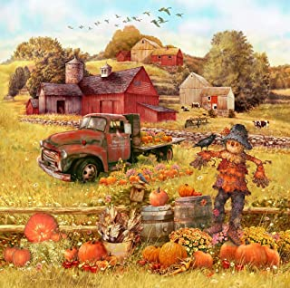 Wooden Jigsaw Puzzle - Scarecrow and Friends - 190 Pieces. Made in USA by Nautilus Puzzles