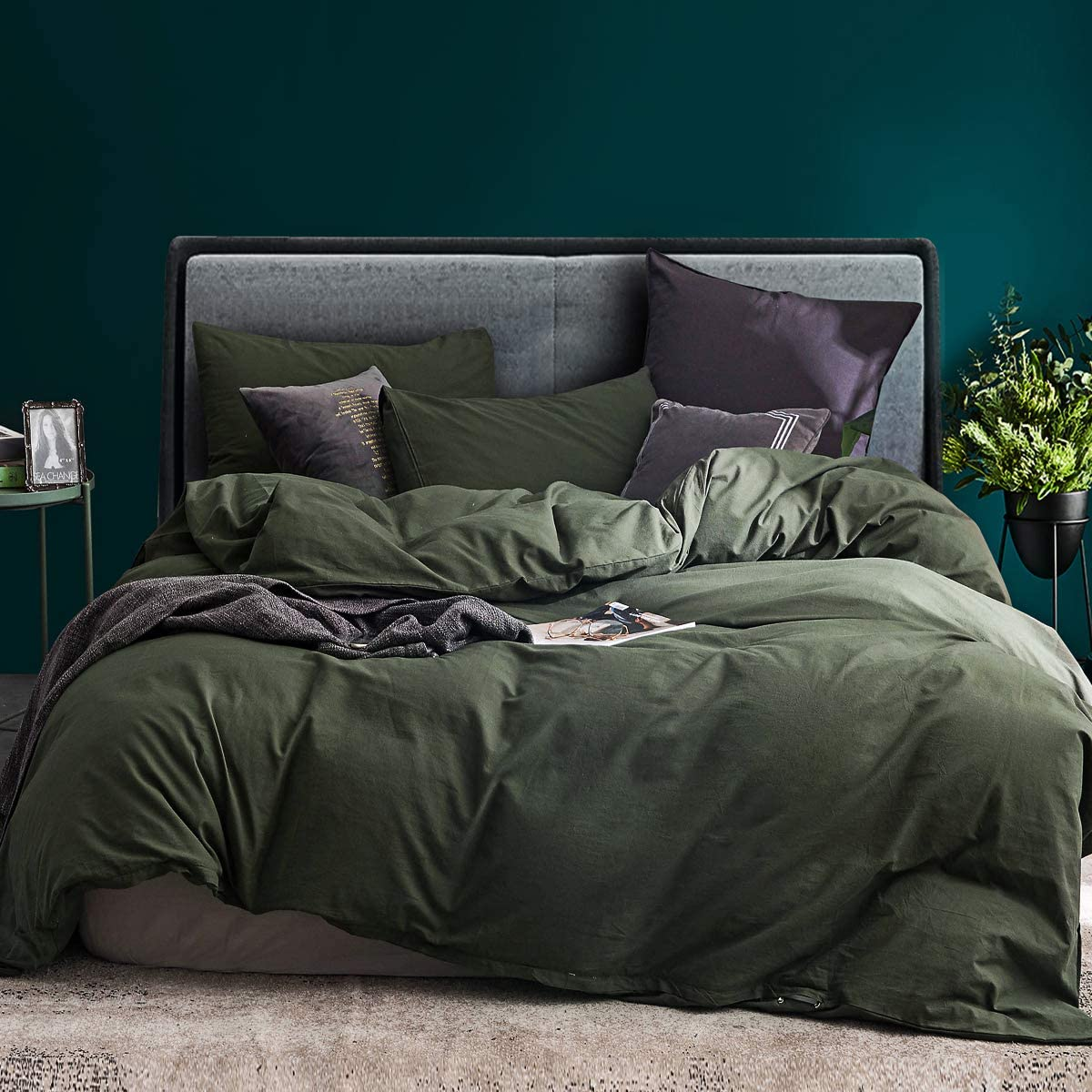 ECOCOTT 3 Pieces Duvet Cover Set King 100% Washed Cotton 1 Duvet Cover with Zipper and 2 Pillowcases, Ultra Soft and Easy Care Breathable Cozy Simple Style Bedding Set (Avocado Green) : Home & Kitchen