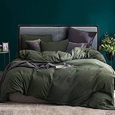 ECOCOTT 3 Pieces Duvet Cover Set Queen 100% Washed Cotton 1 Duvet Cover with Zipper and 2 Pillowcases, Ultra Soft and Easy Ca