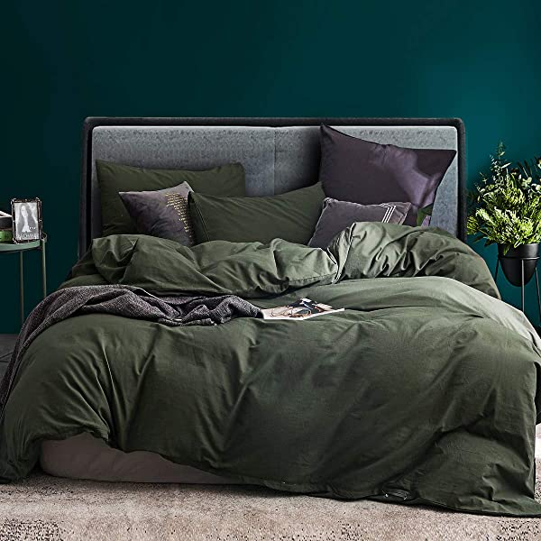 ECOCOTT 3 Pieces Duvet Cover Set Queen 100 Washed Cotton 1 Duvet Cover With Zipper And 2 Pillowcases Ultra Soft And Easy Care Breathable Cozy Simple Style Bedding Set Avocado Green
