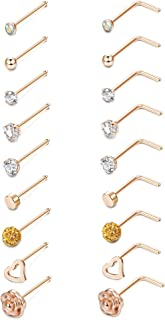 LOYALLOOK 20G L-Shaped Heart CZ Nose Stud Stainless Steel Rose Ball Labret Nose Rings Body Piercing Jewelry for Women Men 18-24Pcs