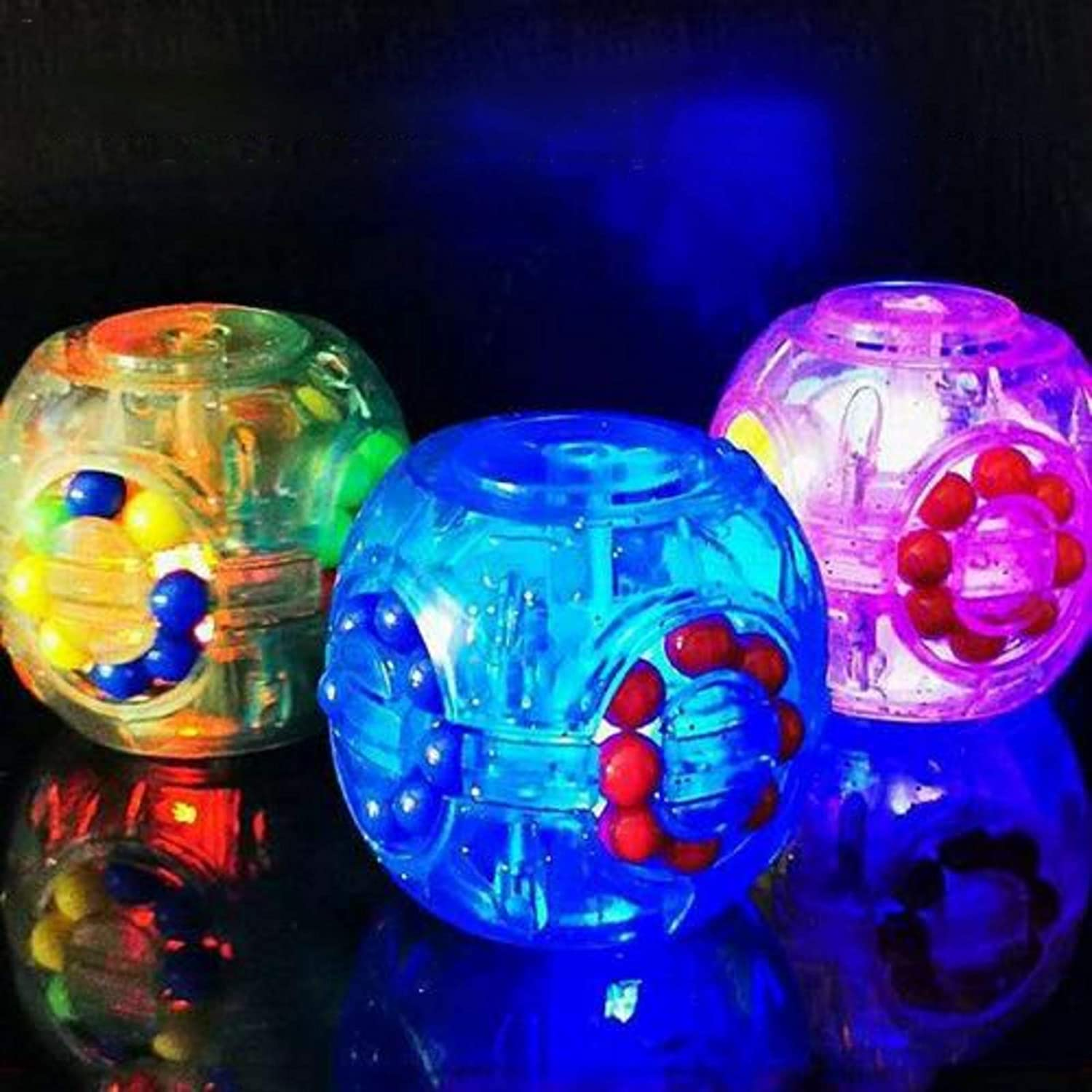 Puzzle Anti-Depression Bead Can Move and Rotate 3PCS Glowing Fidget Cubes Fidget Toy Sensory Toys Stress Relieve Toys Anti-Anxiety Toy for Children and Adults Cube Can Be Rotated