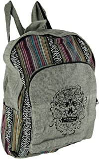 Sugar Skull Grey Cotton Canvas Striped Tapestry Fully Lined Backpack
