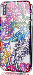 JDBRUIAN Clear Case with Floral Flower Design Shiny Gold Soft TPU Protective Case Flexible Silicone Glossy Skin Cover Phone Case Compatible iPhone Xs MAX Red Blue Palm Leaves