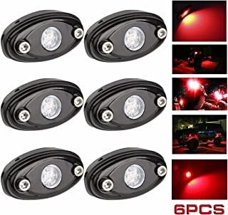 LEDMIRCY LED Rock Lights Red Kit for JEEP Off Road Truck ATV SUV Car Auto Boat High Power Underbody Glow Neon Trail Rig Lights Underglow Lights Waterproof Shockproof(Pack of 6,Red)