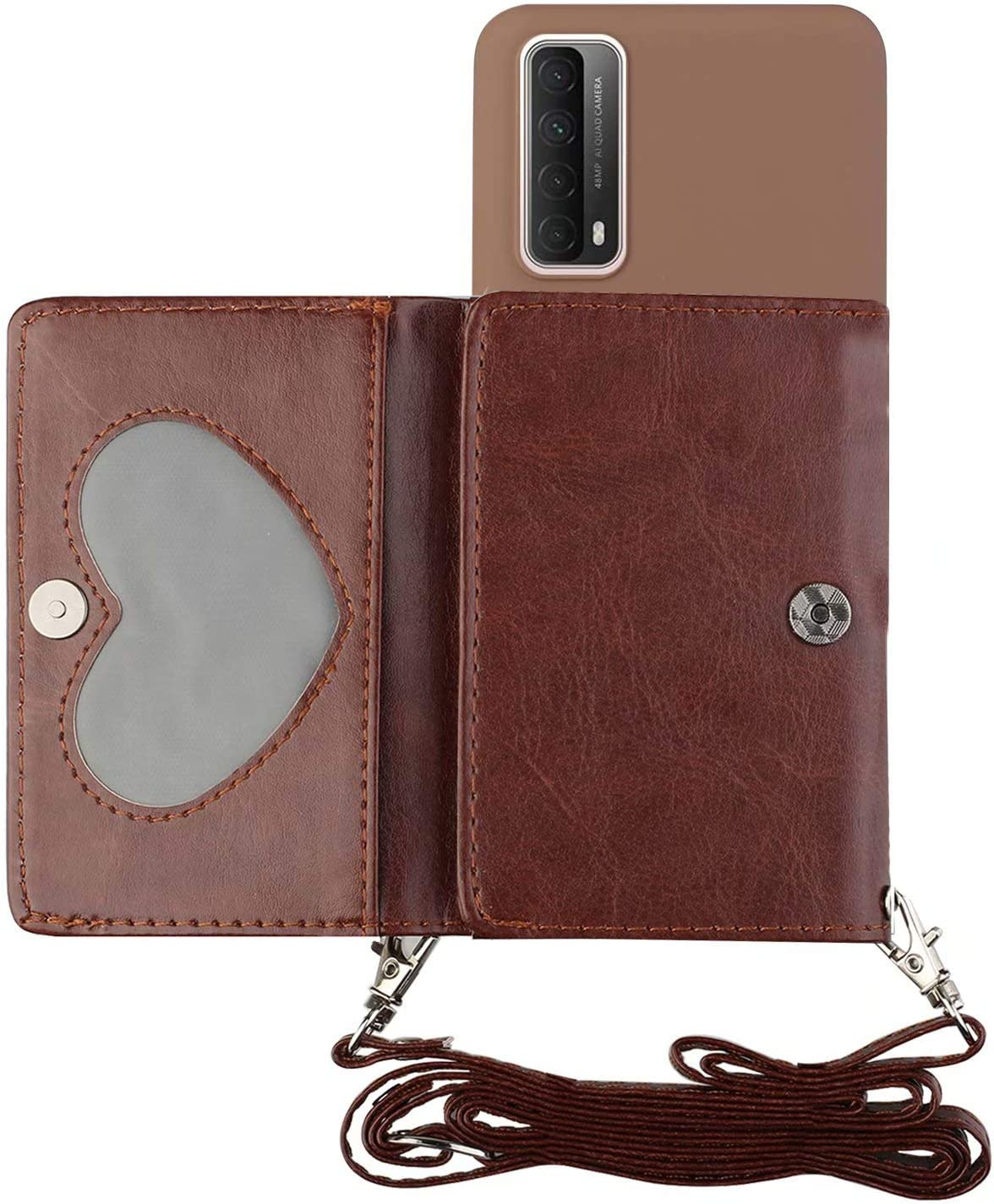 Miagon Shoulder Strap Crossbody Case for Huawei P Smart 2021,Necklace Lanyard Wallet PU Leather Card Holder Stand Cover with Silicone Back,Brown