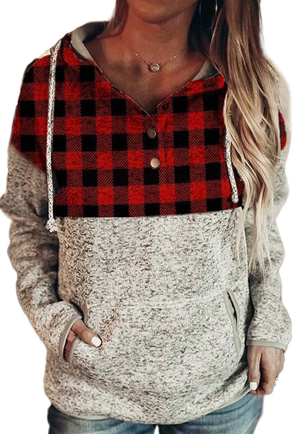 Happy Sailed Womens Quarter Button Up Drawstring Hoodie Long Sleeve Patchwork Sweatshirt Pullover Tops