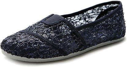 Ollio Women's Shoe Spangle Lace Slip On Ballet Breathable Flat