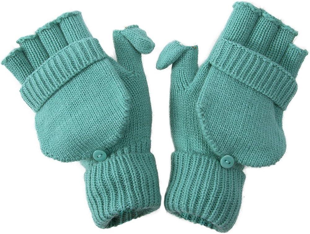 Winter Fingerless Flap Knit Mitten Convertible Flip Gloves