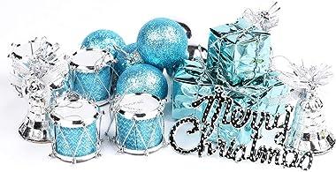 MUTOCAR 32pcs Party Ornaments Set Mixed Ball Pendant Xmas Tree Decorations Ball Set,Blue