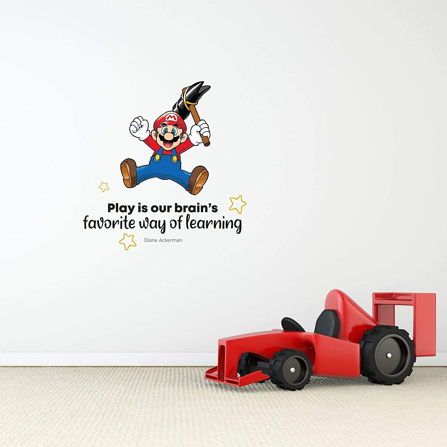 Amazon Com Learning Super Mario Life Quote Cartoon Quotes Decors Wall Sticker Art Design Decal For Girls Boys Kids Room Bedroom Nursery Kindergarten Home Decor Stickers Wall Art Vinyl Decoration 40x40 Inch Home