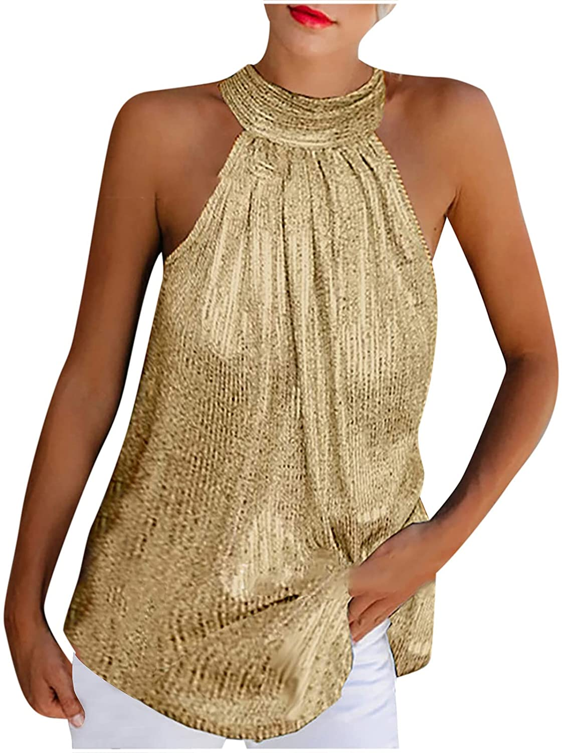 Womens Summer Tops Women Summer Solid Sequined Sleeveless Casual Halter Top Tank Shirt Vest Blouses for Women Fashion