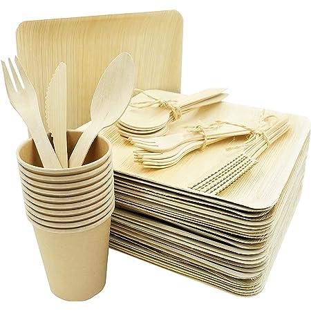Bio Wary - Plato desechable biodegradable y compostable, incluye 25 platos desechables de hoja de palmera, 25 cubiertos, cuchillos y cucharas de ...