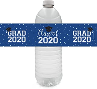 Class of 2020 Graduation Water Bottle Labels - 24 Stickers (Blue)