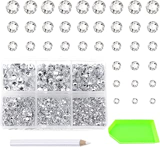 AD Beads 4500 Pieces Hotfix Rhinestones Flat Back 6 Sizes (2-6 mm) Crystal Round Glass Gems with Tweezers and Picking Rhin...