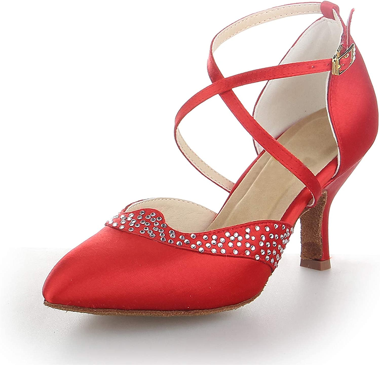 JIAJIA L6244 Women's Satin Sandals Flared Heel Latin Salsa Performance Dance Shoes