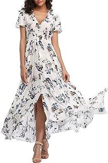 56efd217b8 VOGMATE Femme Robe Chic Longue Col V à Fleur Manches Courtes en Coton Robe  Maxi de