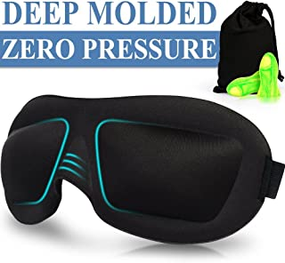 Sleep Mask 2 Pack,2019 Upgraded 3D Contoured Sleepfun Ultra Invisible Nose Alar Shade Eye Mask for Sleeping with Adjustable Strap,Comfortable & Soft Night Blindfold for Women Men,Eye Shades for Travel/Naps (Black & Blue)