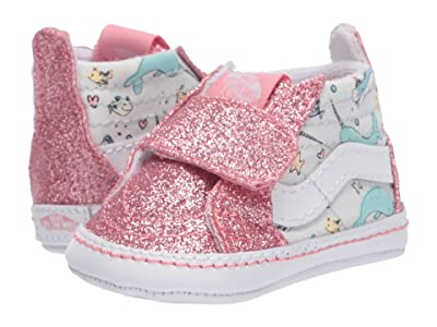 Vans Kids SK8-Hi Crib (Infant/Toddler) ((Shark Party) Pink Icing/True White) Girls Shoes