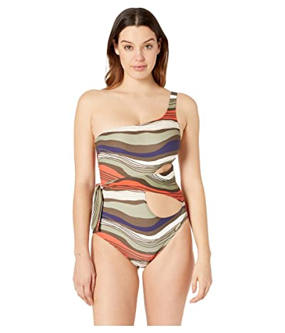 Vince Camuto Tidal Stripe One Shoulder Wrap One-Piece (Bonsai) Women