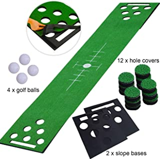 2-FNS Golf Beer Pong Game Set, Golf Putting Green Game Set Putting Mat with 4 Golf Balls,Golf Training Mat for Indoor Outdoor