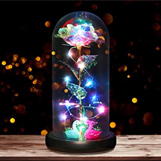 B2LOVER Galaxy Rose Beauty and The Beast Rose Flower Decoration in Glass Dome Gift Artificial Flower for Women Valentine's...