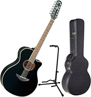 Yamaha APX700II 12 String Acoustic Electric Thinline Guitar Black w/ Hard Case and Stand