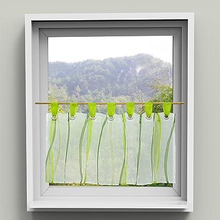 HongYa Scheibengardine Transparenter Voile Bistrogardine Mit Schlaufen  Wellen Muster H/B 45/90 Cm