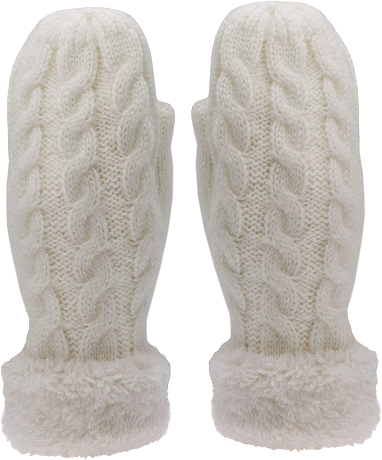 Women's Winter Mittens Cold Weather Warm Soft Lining Thick Cozy Cable Knit Thick Gloves