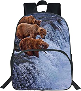 Oobon Kids Toddler School Waterproof 3D Cartoon Backpack, Grizzly Bears Fishing in River Waterfalls Cascade Alaska Nature Camp View, Fits 14 Inch Laptop