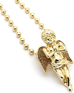 Mens Hiphop G/S Tone Angels Piece Charm Micro Pendant Ball Chain Necklace Jewelry Set