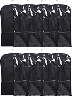 Kuber Industries Half Transparent 8 Piece Non Woven Men's Coat Blazer Cover, Black (CTKTC5500)