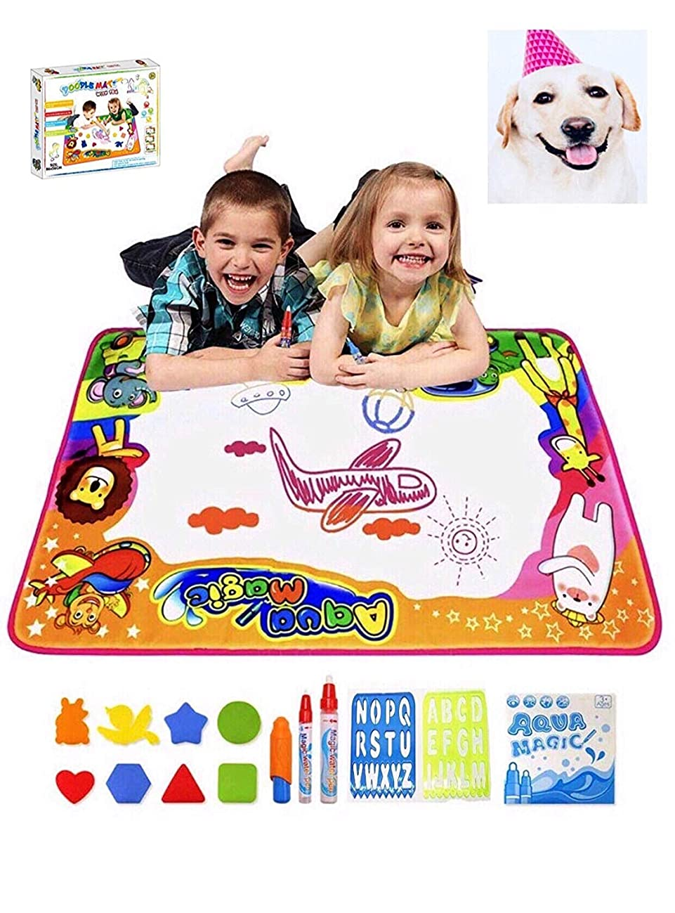 Wideword Water Drawing Mat Aqua Magic Doodle Kids Toys Mess Free Coloring Painting Educational Writing Mats Xmas Gift for Toddlers Boys Girls Age of 2,3,4,5,6 Year Old 34.5