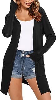Irevial Cardigan Largo Mujer Primavera Verano, Cardigan Mujer Elegante con Bolsillo Casual Chaqueta de Punto Ligero con Ma...