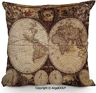AngelDOU Pillow Cotton Linen Cushion,Old World Map Made in 1720s Nostalgic Style Art Historical Atlas Vintage Decor,Coffee Shop Restaurant Sofa Company Gifts.23.6x23.6 inches