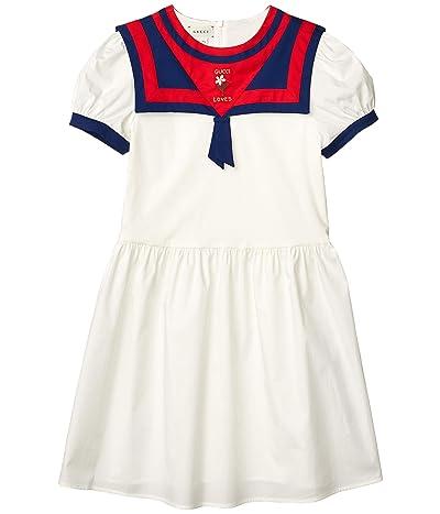 Gucci Kids Poplin w/ Embroidered 3/4 Sleeve Dress (Little Kids/Big Kids)