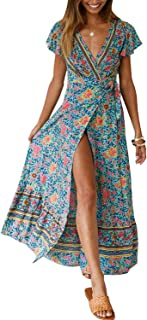 ZESICA Women's Bohemian Floral Printed Wrap V Neck Short...